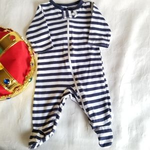 👑 Carter NB Pajamas Footed Blue & Wht